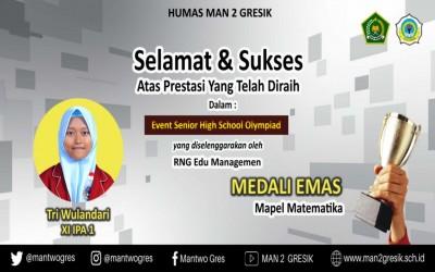 SISWI MAN 2 GRESIK KEMBALI RAIH MEDALI EMAS DALAM EVENT SENIOR HIGH SCHOOL OLYMPIAD 2021