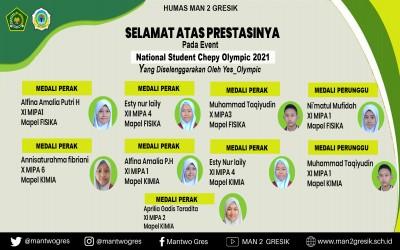 MAN 2 GRESIK BERHASIL MENYABET BERBAGAI MEDALI PADA EVENT NATIONAL STUDENT CHEPPY OLYMPIC 2021